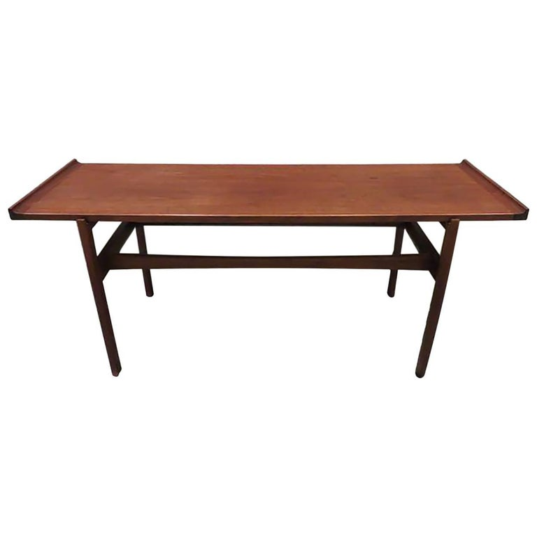 Jens Risom walnut and glass console table-1950's