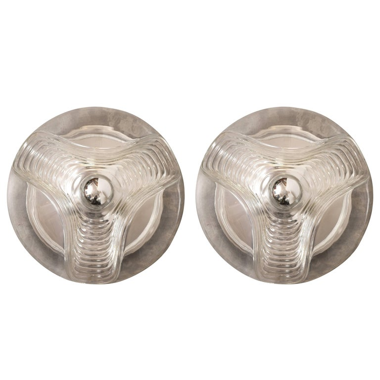 Set of Two Large Wave Clear Flush Mount or Wall lights by Peill & Putzler