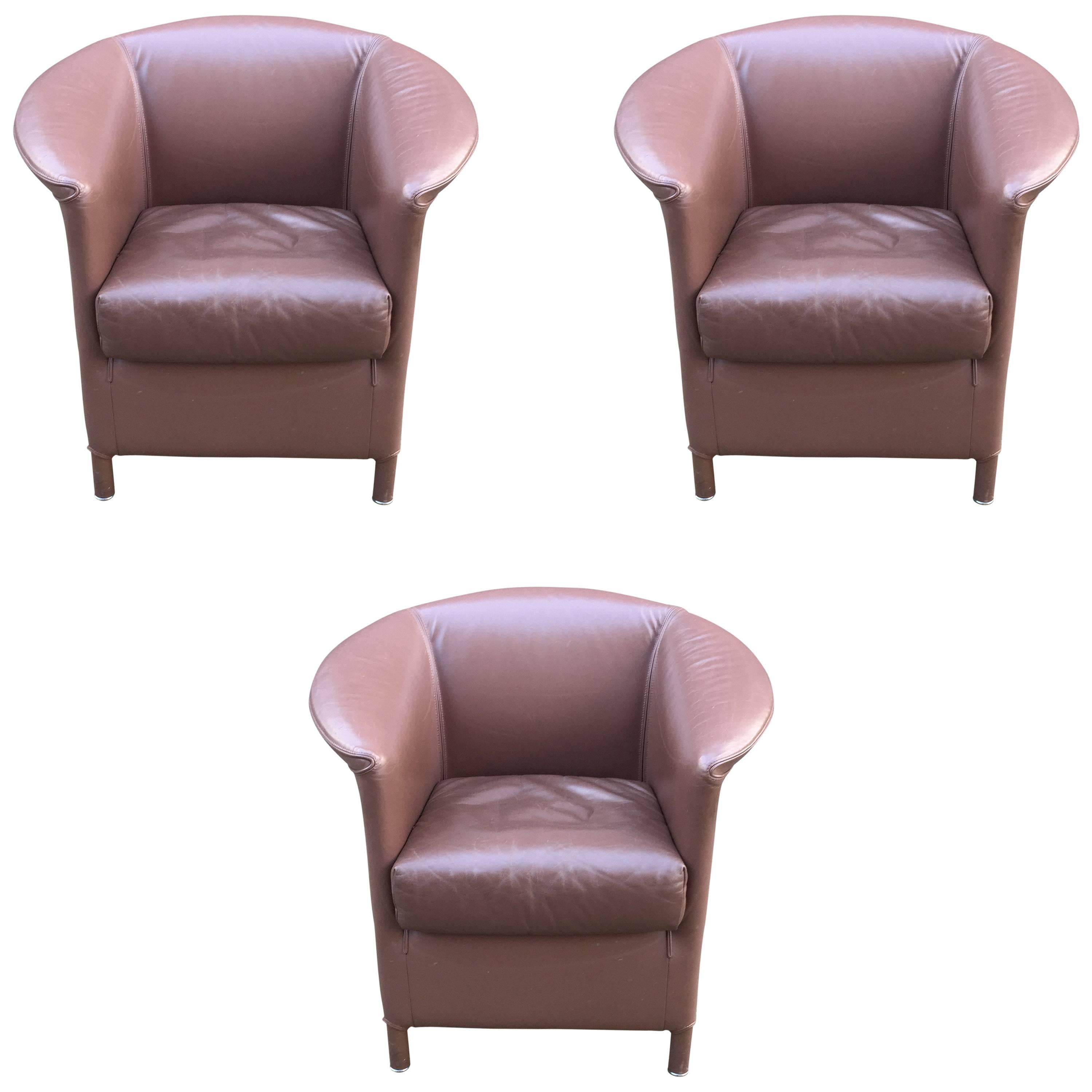 Paolo Piva, 3 leather armchairs, Edition WITTMANN circa 1980