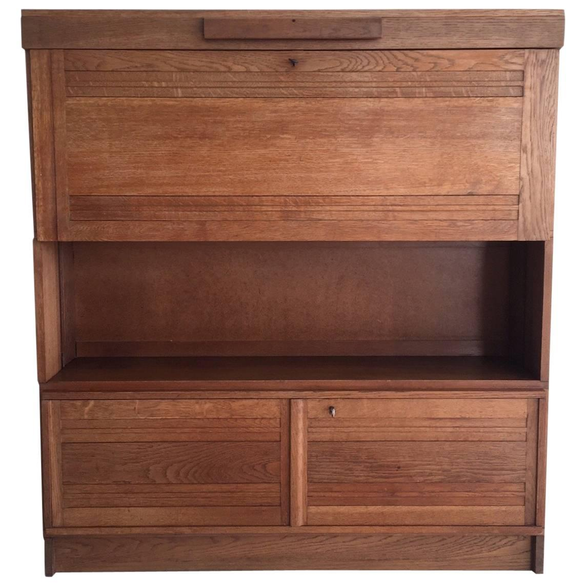 Modest bookcase, secretaire in Oak by Gebroeders Reens, 1930s