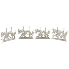 1890s Chinese Export Silver 'Dragon' Card or Menu Holders