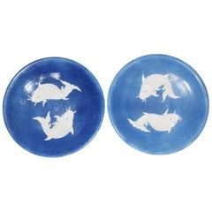 Pair of Chinese Cobalt Blue Decorated Porcelain Plates