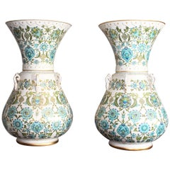 Pair of Mosque Porcelain Lamps with Gilded and Enameled Floral Patterns