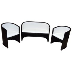SALE Josef Hoffmann White Living Room Set Oak And Leather