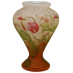 Daum Nancy Vase Art Nouveau Flowers Vetches France Lorraine