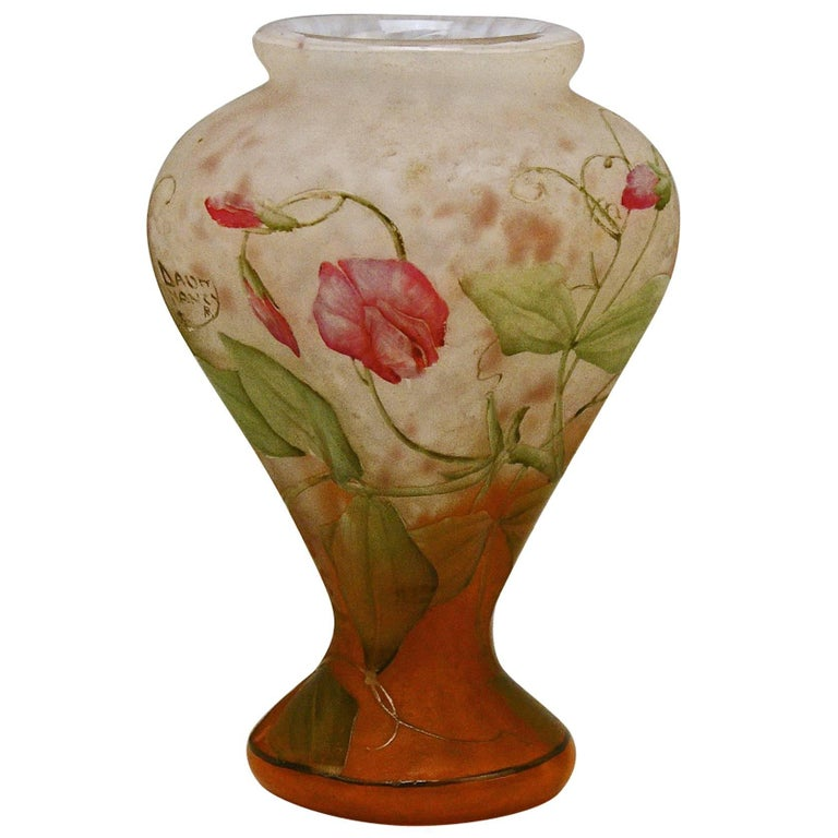 Daum Nancy Vase Art Nouveau Flowers Vetches France Lorraine For Sale