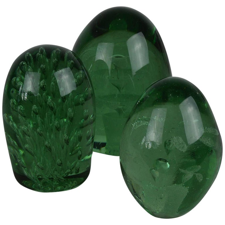 Group of Three Green Glass Dumps English, 19th Century