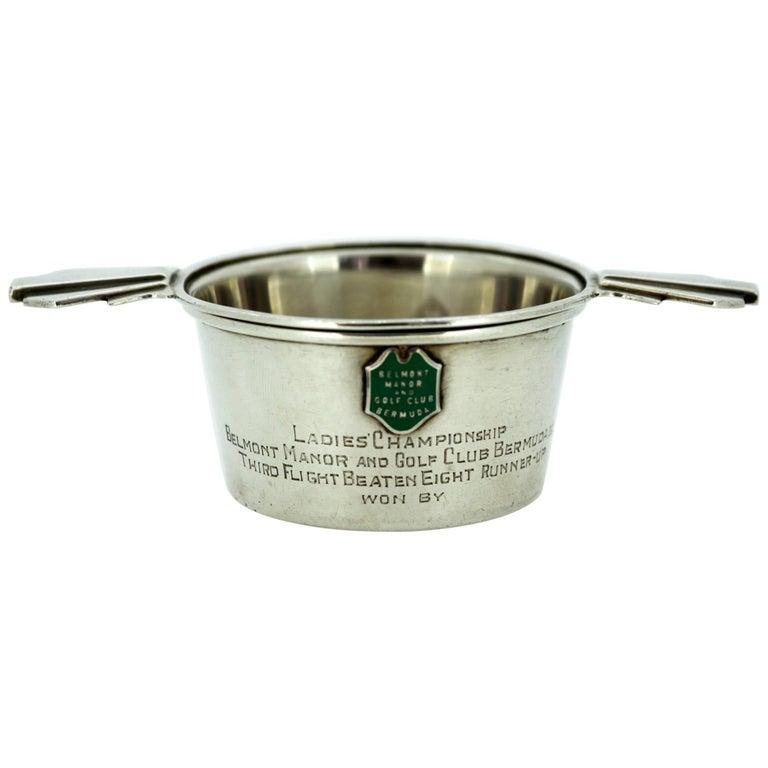 Belmont Manor & Golf Club Bermuda Silver Trophy Tea Strainer, Adie Brothers Ltd