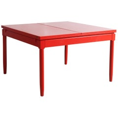 Extendable Red Lacquered 'Carimate' Dining table by Vico Magistretti