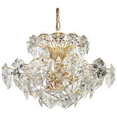 Gilt Brass and Crystal Glass Chandelier by Kinkeldey, Germany, 1970s