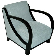 Art Deco armchair black and white leather with black handles