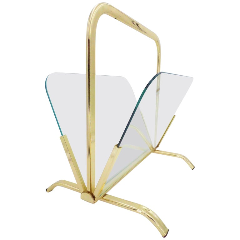 Glass And Brass Magazine Rack Hollywood Regency For Sale