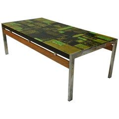 Important Dutch Design Of The 50s Ceramic Chrome And Wood Coffee Table