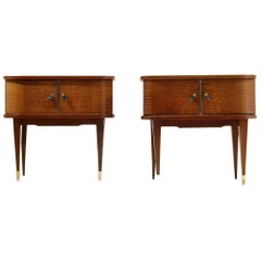Two French Night Stands in Exotic Wood Veneer and Brass Elements by Vaugère