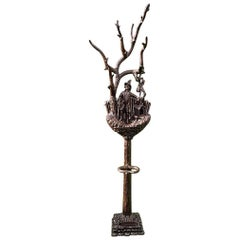 Carved Wooden Tree a Coat Rack and Cane Stand, Black Forest, Germany circa 1850