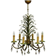 Six- Light Pineapple Chandelier in the Style of Maison Bagues, circa 1950s