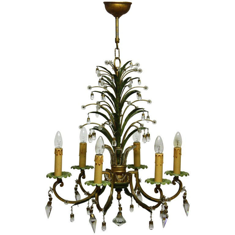 Six- Light Pineapple Chandelier in the Style of Maison Bagues, circa 1950s For Sale