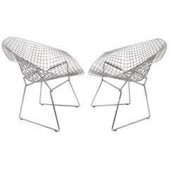 Pair of Signed Knoll Bertoia Diamond Chairs in Stainless Steel