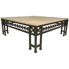 LARGE STONE, STEEL AND BRASS EMPIRE DESIGN COFFEE Table