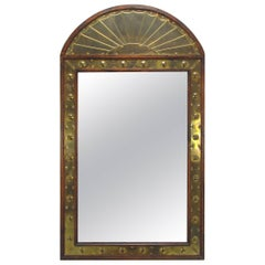 Sarreid Wall Mirror in Brass Repoussé and Wood, Made in Italy