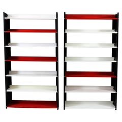 Pair of Mid-Century Modern Colored Metal Standing Bookshelves by Pilastro, 1960s