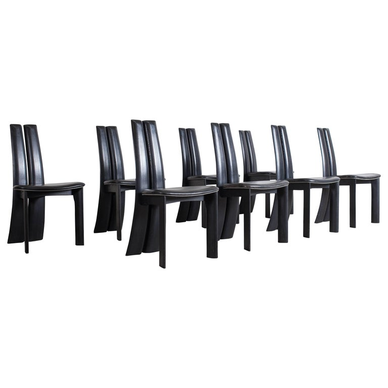 Mid-century modern sculptural ebonized dining chairs, set of eight For Sale