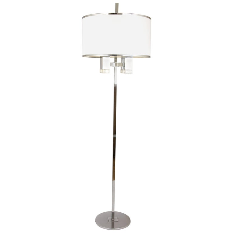 Chrome Floor Lamp with Fabric Shade by Gaetano Sciolari, 1970s