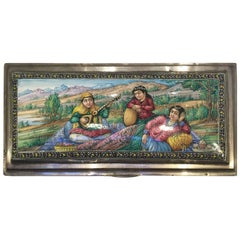 20th Century, Pure Silver Box with enamelled pastoral scene. Isfahan, Iran.