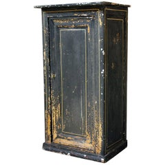 Very Decorative Black Painted Pot Cupboard or Side Cabinet, circa 1900