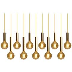 Twelve Brass Finish Pendants Lights,  Danish Modern