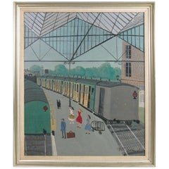 Paris Train Station Painting by A. M. Guerin