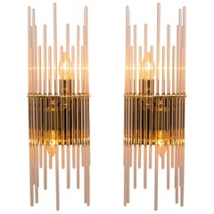 Modern Sciolari Glass Rod Waterfall Wall Sconces for Lightolier, 1970