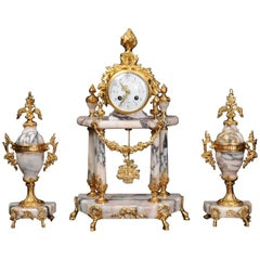 Stunning Marble and Ormolu Portico Clock Set by Samuel Marti