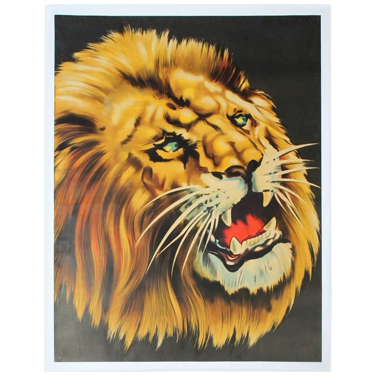Large Lion Poster for Circus Triumph, Linen Backed, 1960s For Sale 5