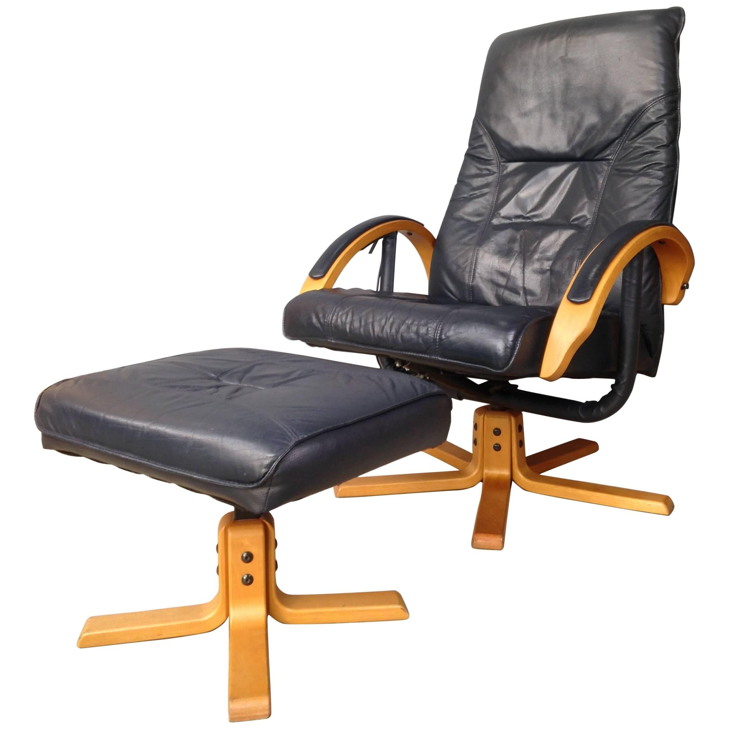 Danish Design Wooden And Leather Recliner And Swivel Armchair With Ottoman  For Sale