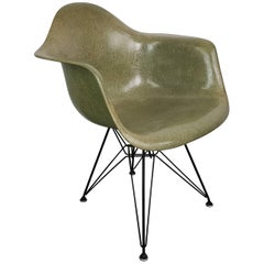 1950s Eames Herman Miller DAR Armchair in Seafoam Green with Rope Edge