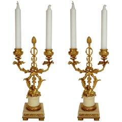 Pair 19th Century Louis XVI Style Gilt Bronze and Marble Candelabra