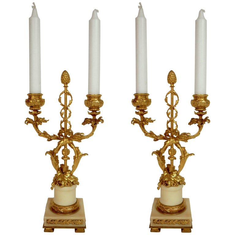 Pair 19th Century Louis XVI Style Gilt Bronze and Marble Candelabra