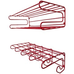 Vintage 1960s Tomado Red Metal Coatrack and Hat Rack