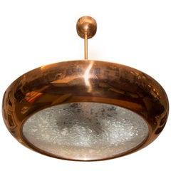 Functionalist Brass pendant-ceiling lamp UFO by Josef Hurka, Czechoslovakia