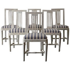 Dining Chairs Set of Six Swedish Gustavian Neoclassical White Sweden
