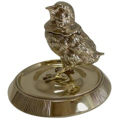 Antique English Chick Inkwell / Match Striker c.1880