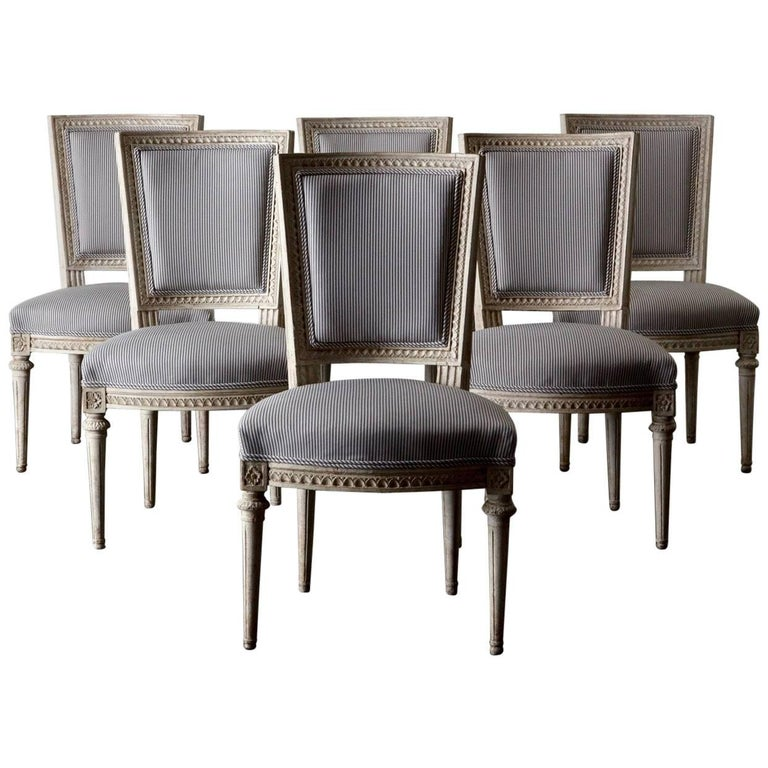 Dining Chairs Set of Six Swedish Gustavian in White, Sweden