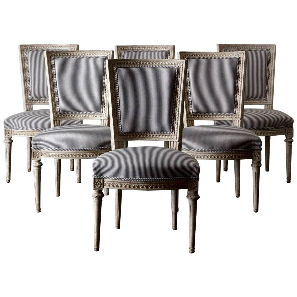 Dining Chairs Set Of Six Swedish Gustavian In White, Sweden For Sale