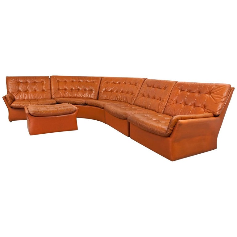 Leather Curved Sectional Sofa Mid-Century Modern 1970s Dutch Design