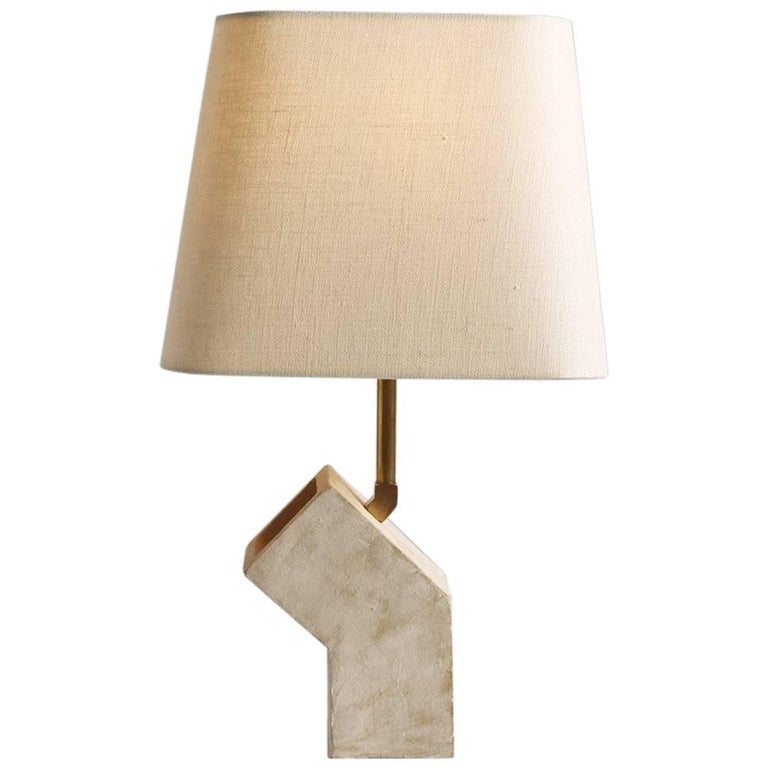 'Conduit' Brutalist White Ceramic and Brass Small Table Lamp For Sale