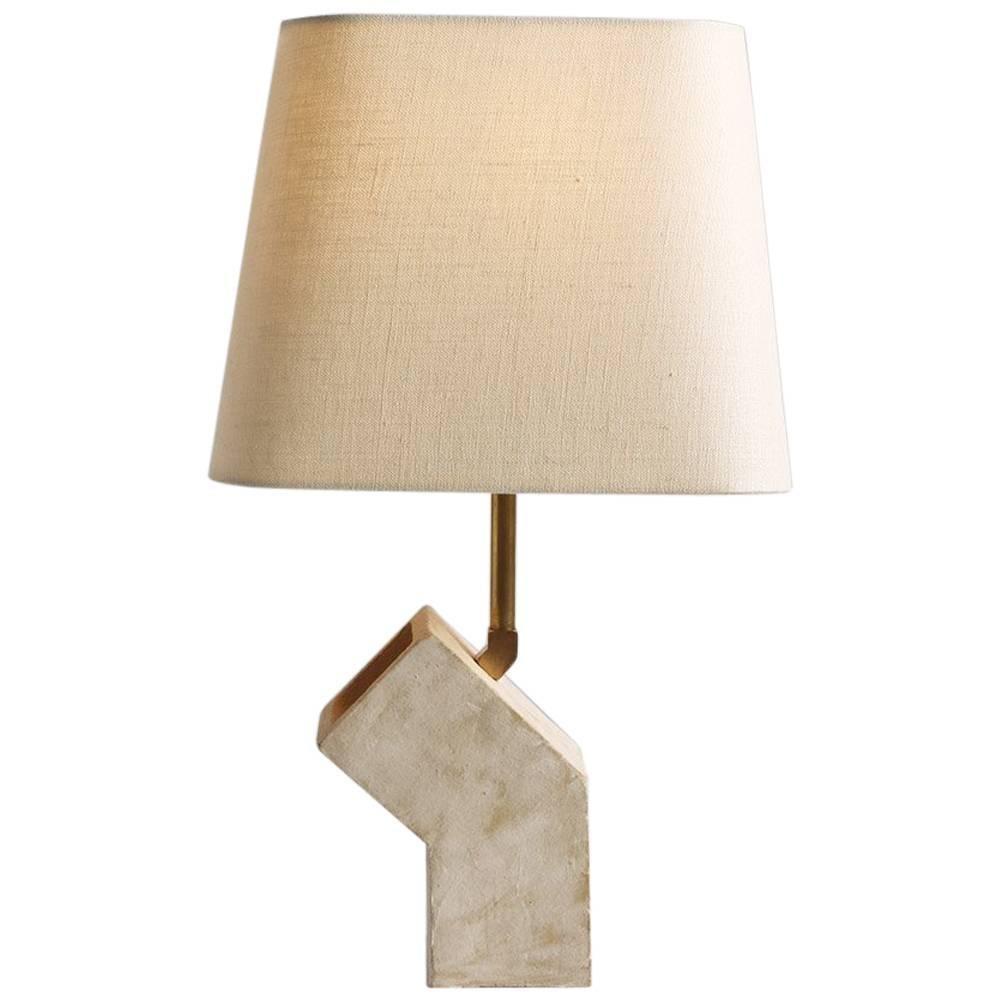 U0027Conduitu0027 Brutalist White Ceramic And Brass Small Table Lamp