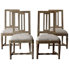 Dining Chairs Swedish Set of Four Gustavian Original Paint Green Sweden