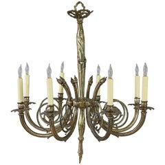 Art Deco Style Brass and Bronze Eight-Arm Chandelier