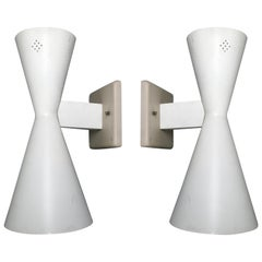 Pair of Midcentury Double Cone Wall Sconces